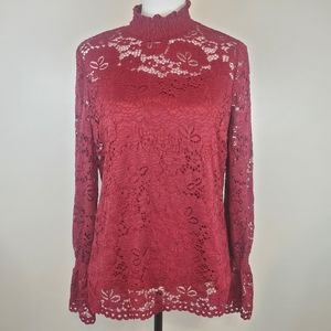 NWOT Adrianna Papell Red Lace Mock Neck Top